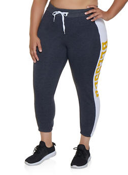 Plus Size Blessed Color Block Joggers - 3951038347143