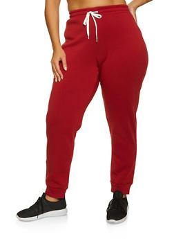 Plus Size Fleece Lined Joggers - 3951038347183