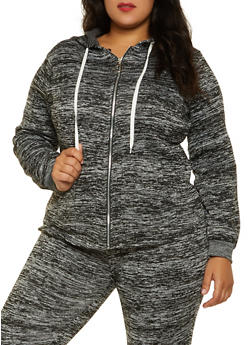 Plus Size Zip Front Sweatshirt - 3951038347252