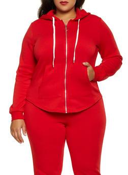 Plus Size Zip Front Sweatshirt - 3951038347252