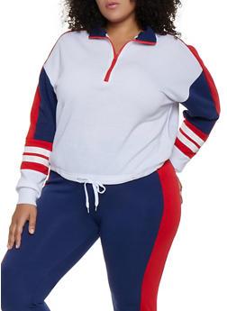 Plus Size Color Block Pullover Sweatshirt | 3951038347262 - 3951038347262