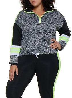 Plus Size Color Block Pullover Sweatshirt | 3951038347262 - LIME - 3951038347262