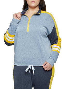 Plus Size Color Block Pullover Sweatshirt | 3951038347262 - 3951038347262