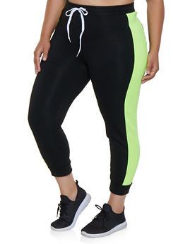 Plus Size Contrast Side Stripe Joggers - 3951038347263