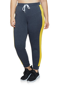 Plus Size Contrast Side Stripe Joggers - 3951038347263