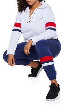 Plus Size Color Block Stripe Detail Sweatshirt - 3951038347505