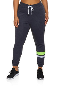 Plus Size Color Block Stripe Detail Joggers - 3951038347506