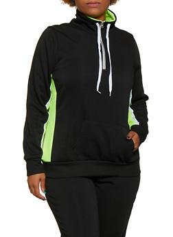 Plus Size Half Zip Pullover Sweatshirt - LIME - 3951038347507