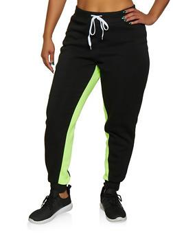 Plus Size Fleece Lined Joggers | 3951038347508 - LIME - 3951038347508