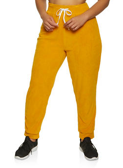 Plus Size Corduroy Drawstring Joggers - 3951038347781