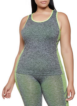 Plus Size Chevron Detail Active Tank Top - 3951038347800