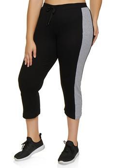 Plus Size Thermal Capri Pants - 3951038347813