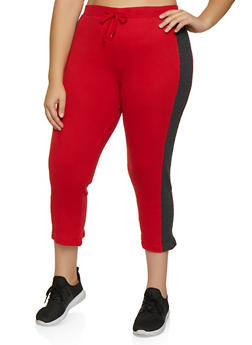 Plus Size Thermal Capri Pants - 3951038347813