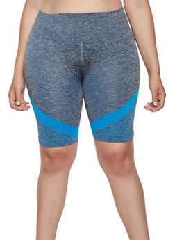 Plus Size Chevron Detail Seamless Bike Shorts - 3951038347821
