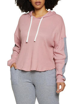 Plus Size Thermal Hooded Top - 3951038347822