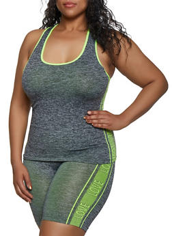 Plus Size Love Trim Seamless Active Tank Top - 3951038347830