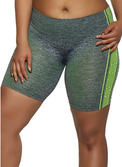 Plus Size Love Trim Seamless Bike Shorts - 3951038347831