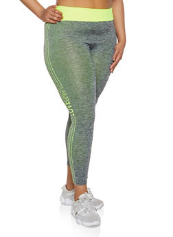 Plus Size Marled Contrast Trim Love Active Leggings - 3951038347841