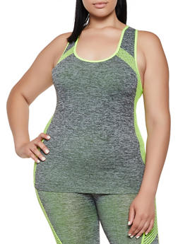 Plus Size Multi Stripe Detail Active Tank Top - 3951038347850