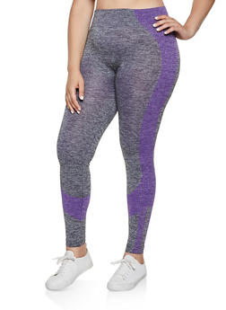 Plus Size Multi Stripe Detail Active Leggings - 3951038347851