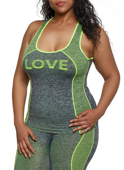 Plus Size Love Seamless Active Tank Top - 3951038347860