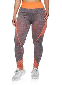 Plus Size Striped Detail Active Leggings - 3951038347871