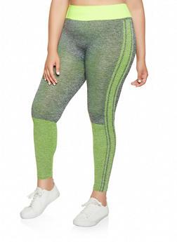 Plus Size Dot Print Leggings - 3951038347881