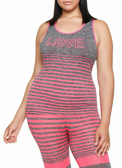 Plus Size Multi Stripe Love Active Tank Top - 3951038347890