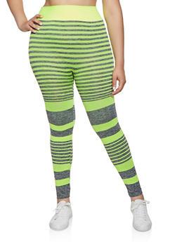 4fdc348aa3c673 Plus Size Multi Stripe Active Leggings - 3951038347891