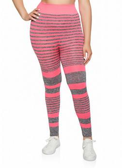 Plus Size Multi Stripe Active Leggings - 3951038347891