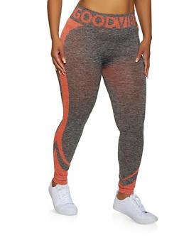 Plus Size Good Vibes Striped Detail Leggings - 3951038347901