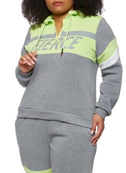 Plus Size Fierce Color Blocked Hooded Sweatshirt - 3951051060361