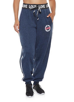 Plus Size Graphic Waistband Sweatpants - 3951051060473