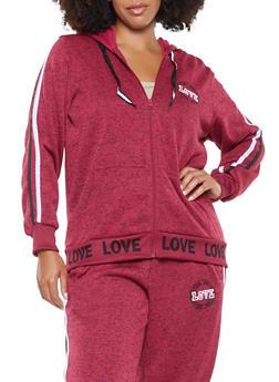 Plus Size Love Graphic Hooded Sweatshirt - 3951051060639