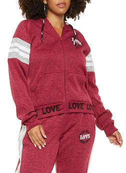 Plus Size Love Graphic Varsity Stripe Sweatshirt - 3951051060729