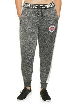 Plus Size Marled Graphic Sweatpants - 3951051060775