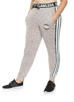 Plus Size Marled Graphic Sweatpants - 3951051060775