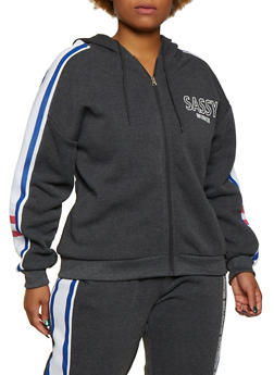 Plus Size Sassy Influencer Hooded Sweatshirt - 3951051061330