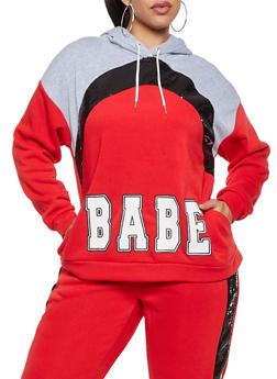 Plus Size Babe Sequin Sweatshirt - 3951051061410