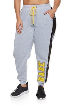Plus Size Sequin Stripe Babe Joggers - 3951051061411