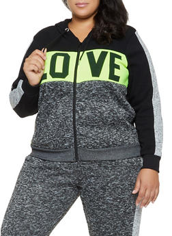 Plus Size Love Graphic Zip Sweatshirt - 3951051061570