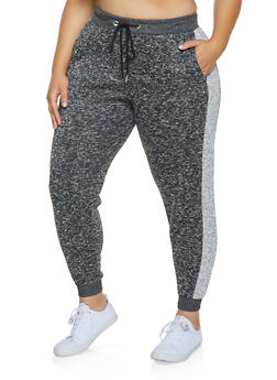 Plus Size Striped Side Joggers - 3951051061571