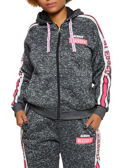 Plus Size Always Blessed Hooded Sweatshirt - 3951051061580