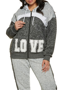 Plus Size Love Chevron Detail Sweatshirt - 3951051061750