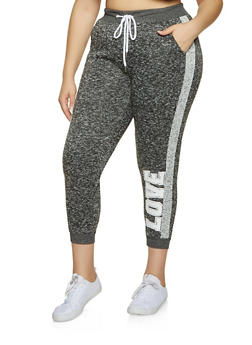 Plus Size Marled Love Side Stripe Sweatpants - 3951051061751