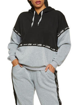 Plus Size Share Love Graphic Tape Sweatshirt - 3951051061970
