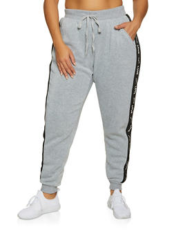 Plus Size Share Love Graphic Tape Joggers - 3951051061971