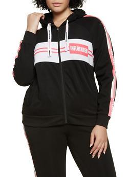Plus Size Influencer Tape Zip Sweatshirt - 3951051061990