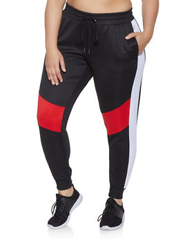 Plus Size Color Block Active Joggers - 3951051063542