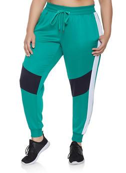 Plus Size Color Block Active Joggers - 3951051063542